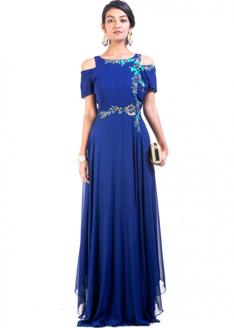 3e313dcdf3d Blue Georgette Cold Shoulder Indian Gown 169GW05