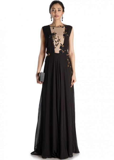 dc505698449 Black Sleeveless Georgette   Net Designer Gown 164GW01