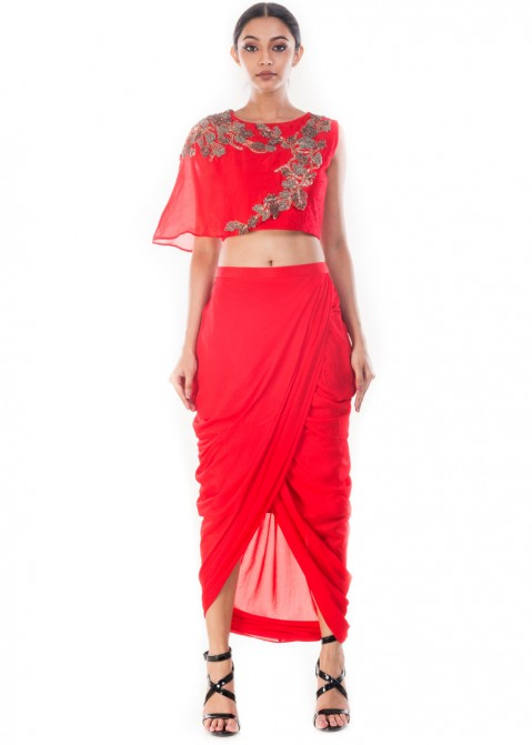 2de858b5f0c3b8 Red Raw Silk Crop Top With Skirt 119TB08
