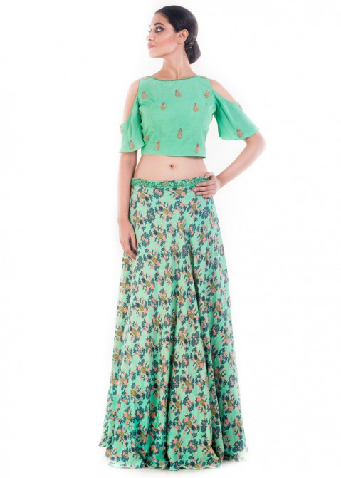 abac10b0d8920 Green Embroidered Crop Top With Printed Skirt 121TB20