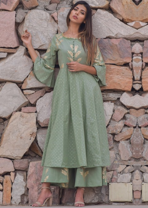 e53992a8fdb Indo Western Dress  Buy Green Block Print Kurta Palazzo Set Online