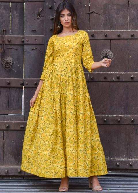 Yellow Cotton Block Printed Maxi Dress