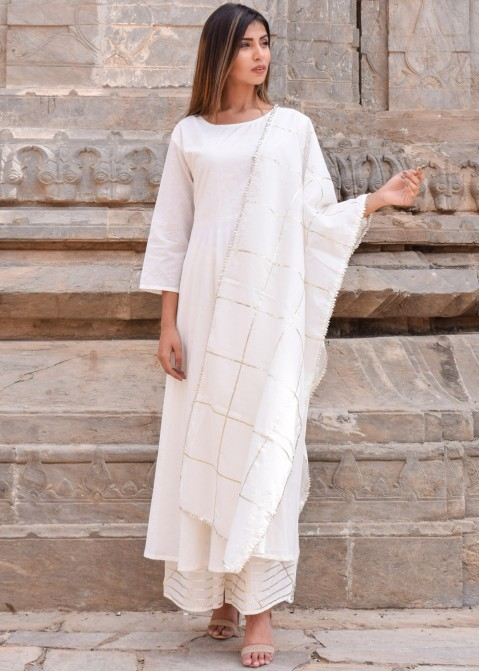 cdacfa1f7364 Gota Patti Suits - Off White Readymade Cotton Palazzo Suit Online USA