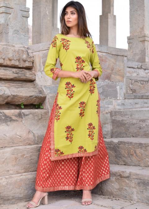 0fa2cf67ec Indo Western Dresses: Buy Green Cotton Printed Kurti Sharara Suits Online