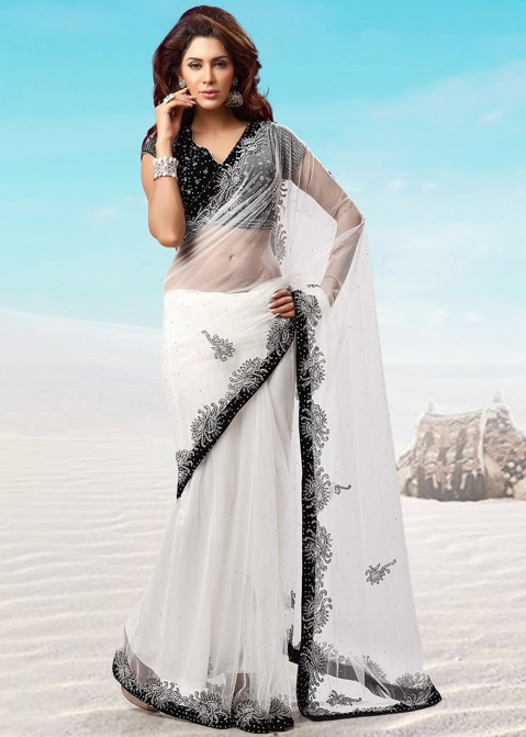 78fc6bef45e11 White Net Embroidered Saree With Blouse 1565SR20