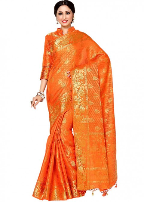31ccd72987df49 Orange Kanjivaram Silk Saree With Blouse 1576SR11