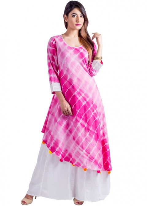 9fc4d8cc7566 Indian Tunic Dresses  Buy Readymade Pink Rayon Indian Tunics Online