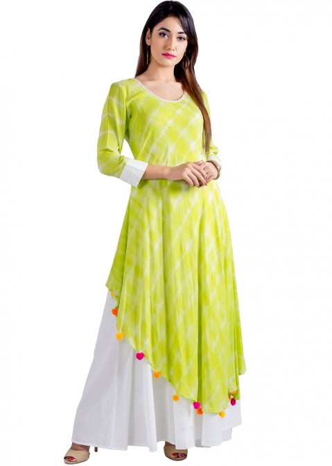 df71eaf340 Indo Western Dress  Buy Readymade Lime Green Cotton Indian Tunics for Women
