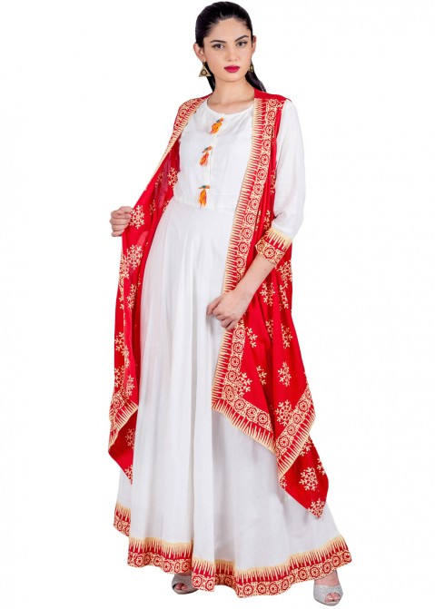 7c1e58a5c82 Indo Western Dress: Buy Readymade White & RedRayon Indian Tunics Online