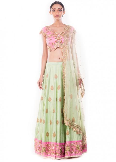 72dd20e37b Mint Green Raw Silk Embroidered Lehenga Choli 1733LG03