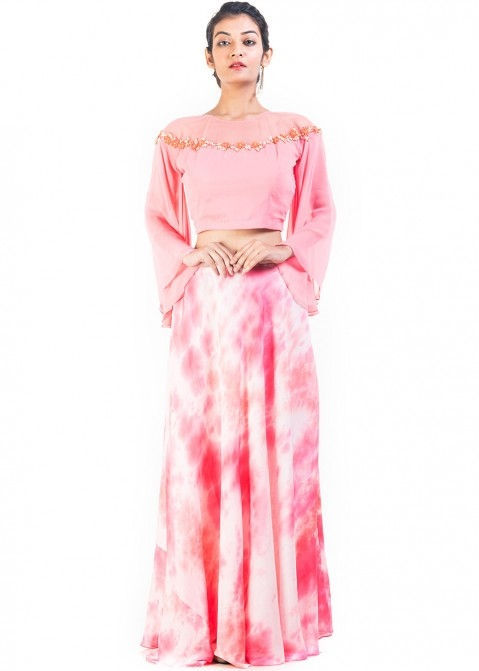 c9a3d13bbf368 Pink Georgette Crop Top With Skirt 120TB12