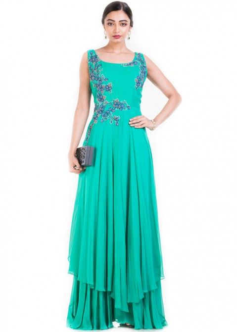 Sea Green Twin Layered Chiffon Gown