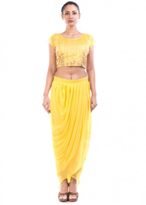 c0842e3a9cf74 Yellow Embroidered Crop Top With Dhoti Pant 117TB06