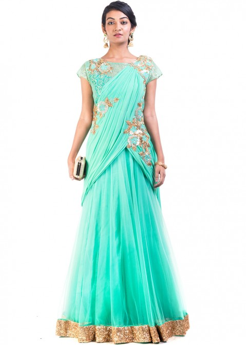 3a39c335cb Sea Green Net Saree Style Indo Western Gown 169GW18