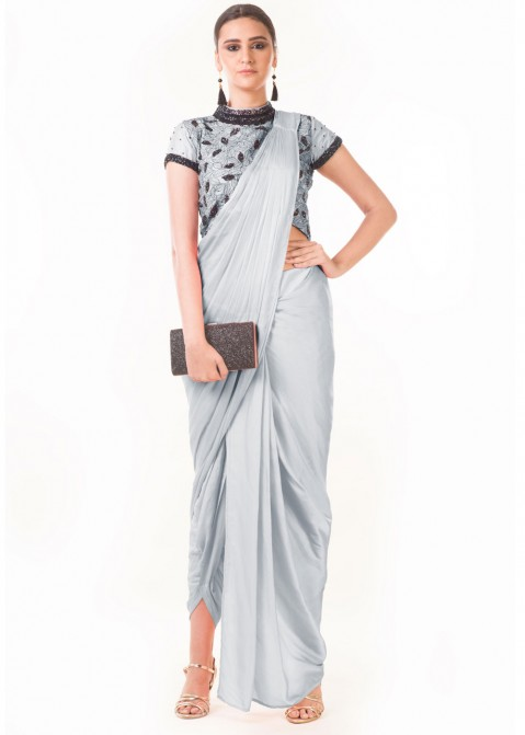 37c6a6a70539a Indo Western Dress: Buy Grey Draped Dhoti With Embroidered Blouse Online