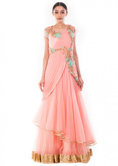 1bf7087855 Indian Gowns Online  Buy Pastel Pink Saree Style Indo Western Gown in USA