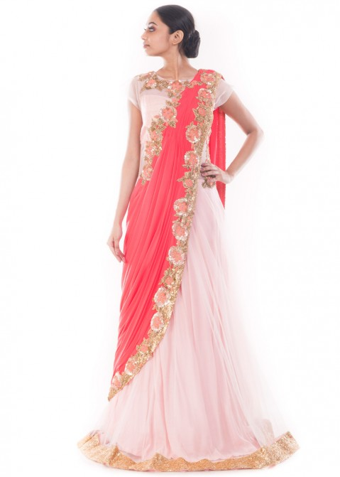 345d67a99a Buy Party Wear Pastel Pink & Peach Saree Style Indian Gowns Online USA