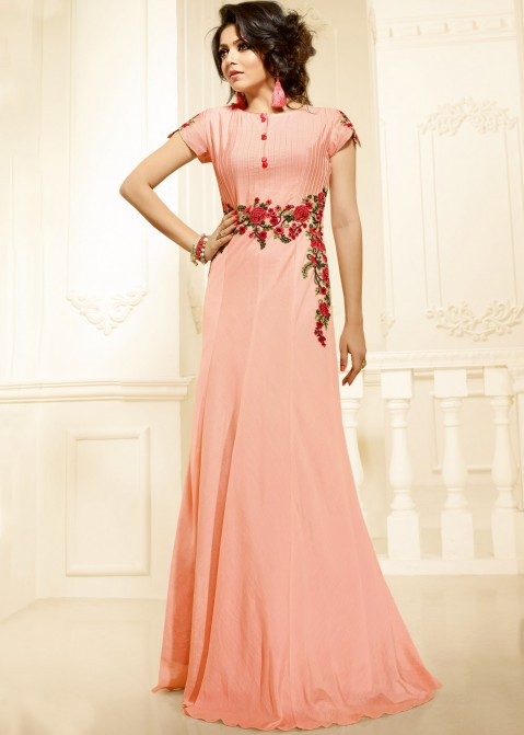 12154cb1dd Buy Drashti Dhami Readymade Chanderi Peach Indo Western Gown Dress Online