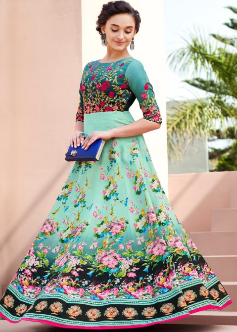c28d42778fc8 Indian Gowns Online  Buy Sea Green Indo Western Gown With Embroidery