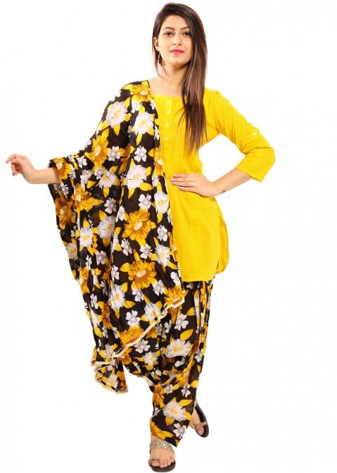 0c92e284cf Yellow Readymade Cotton Patiala Salwar Suit 1470SL12