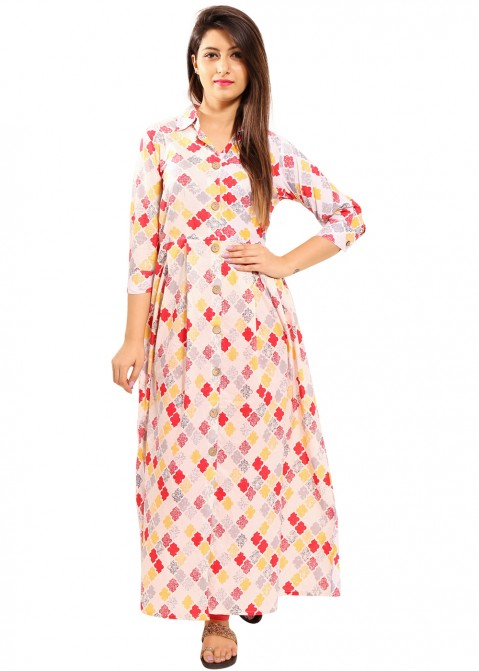 97781f218e28 Indo Western Dress  Buy Cream Printed Cotton Indian Tunic Dress Online