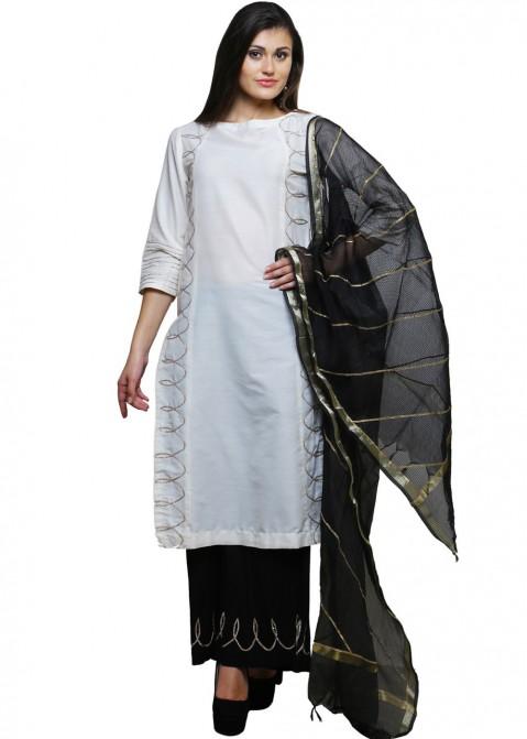 29b7edb804 Readymade White Cotton Silk Palazzo Salwar Suit with Dupatta 1684SL18
