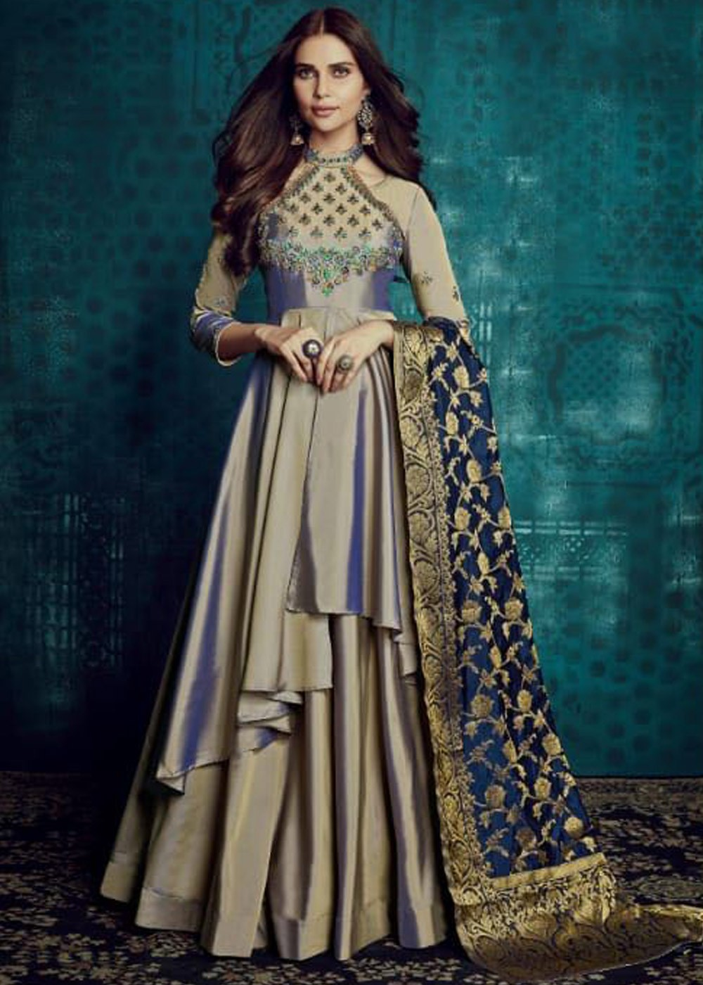 Grey Embroidered Readymade Art Silk Suit