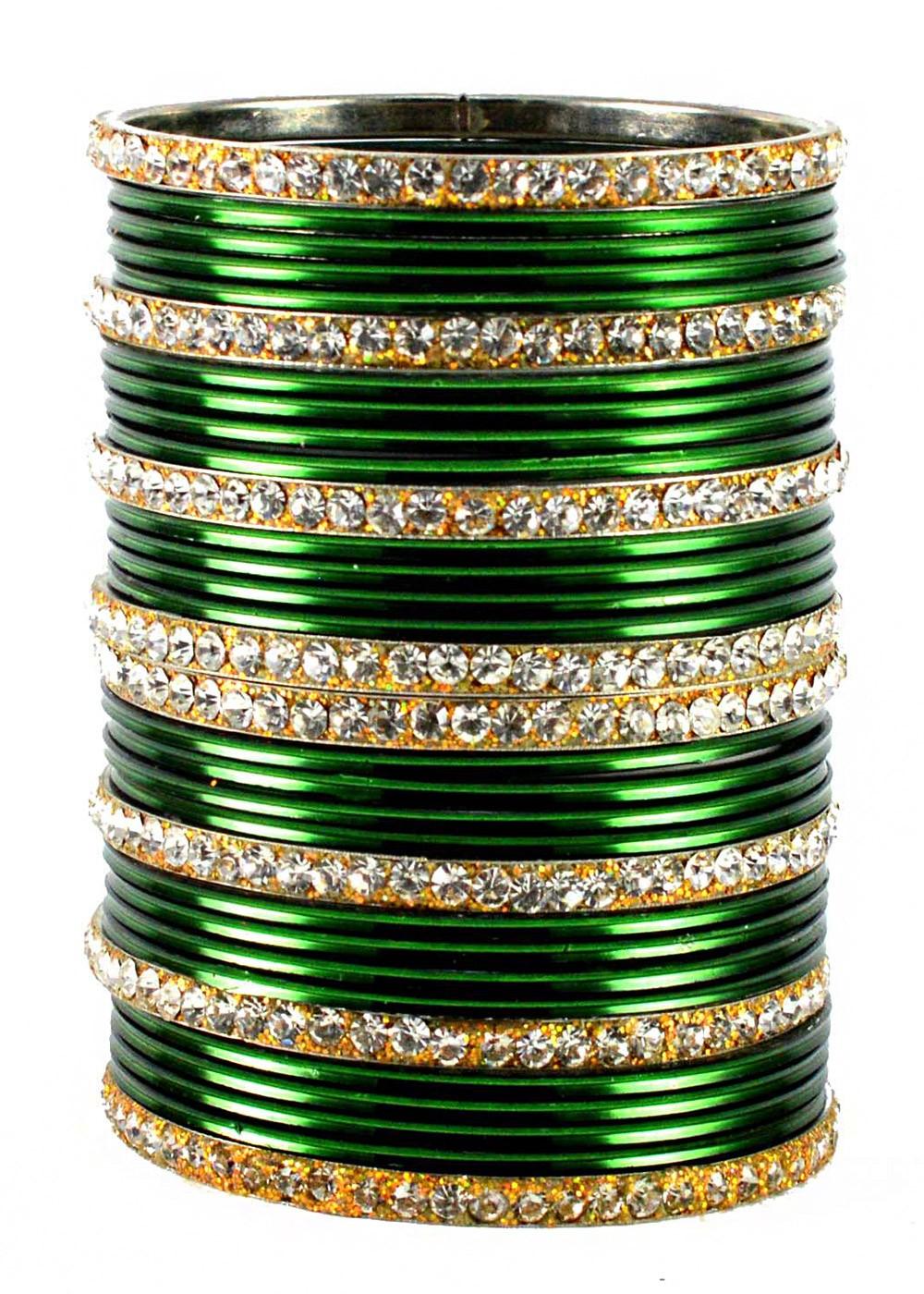 Green And Golden Bangle Set Jewelry 101bg22