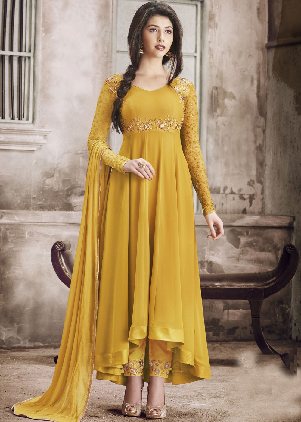 Yellow Asymmetrical Abaya Suit in Georgette Most Loved ...