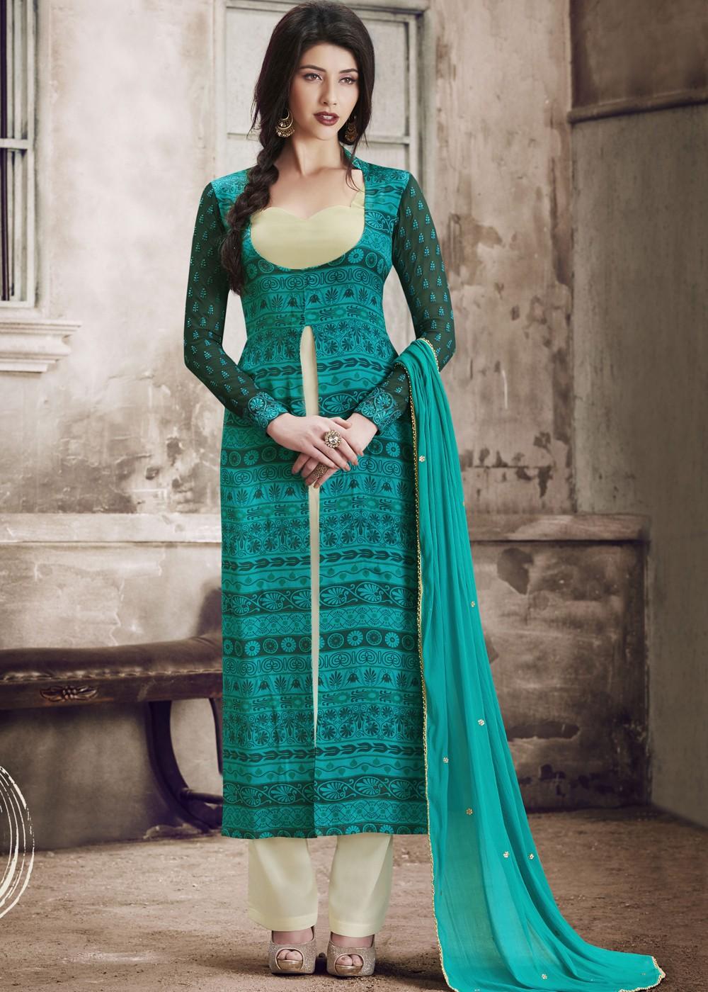 Turquoise Twin Layered Pant Suit Salwar Kameez 1508SL05