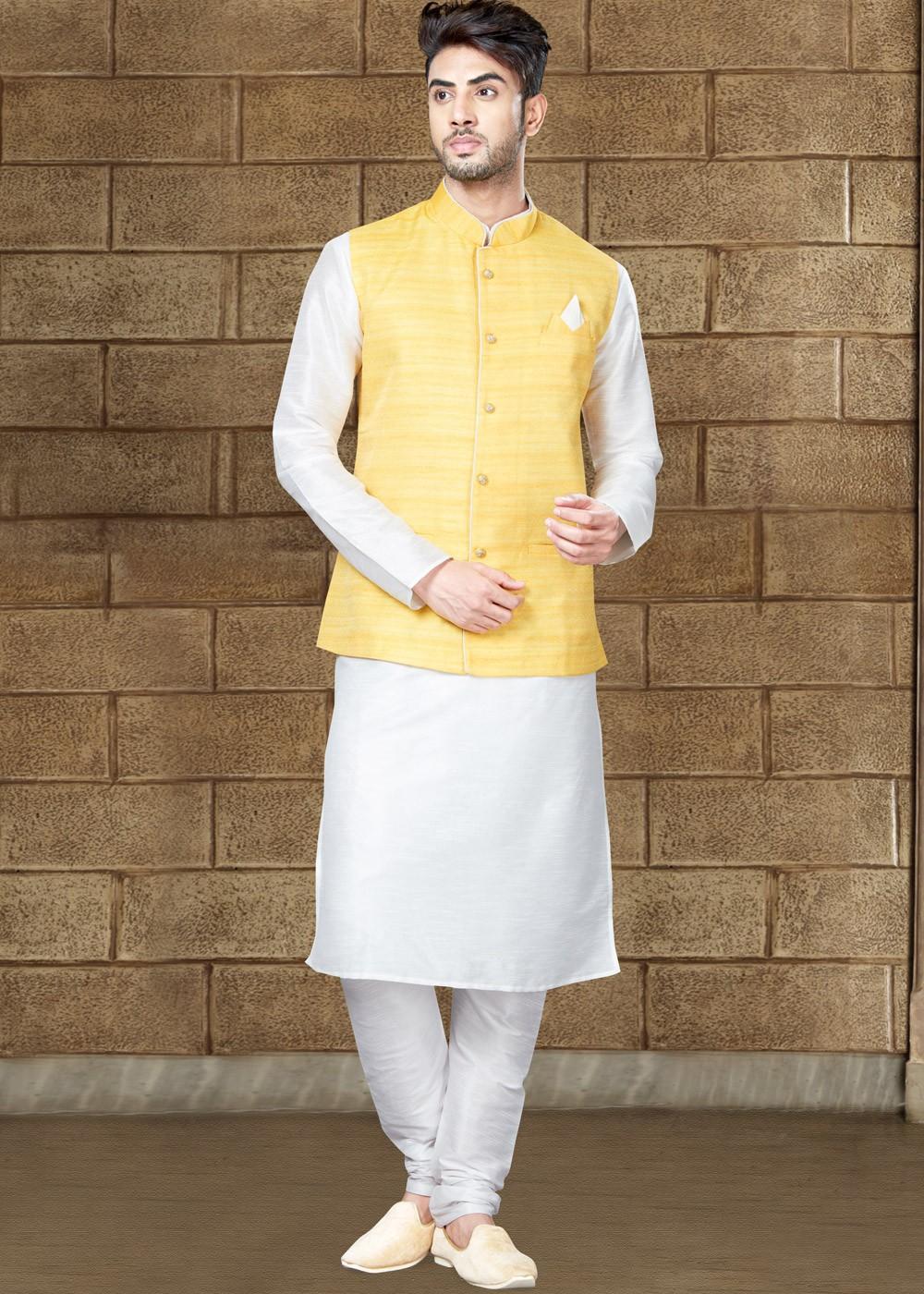 0ed338018 Readymade White Kurta Pajama with Nehru Jacket
