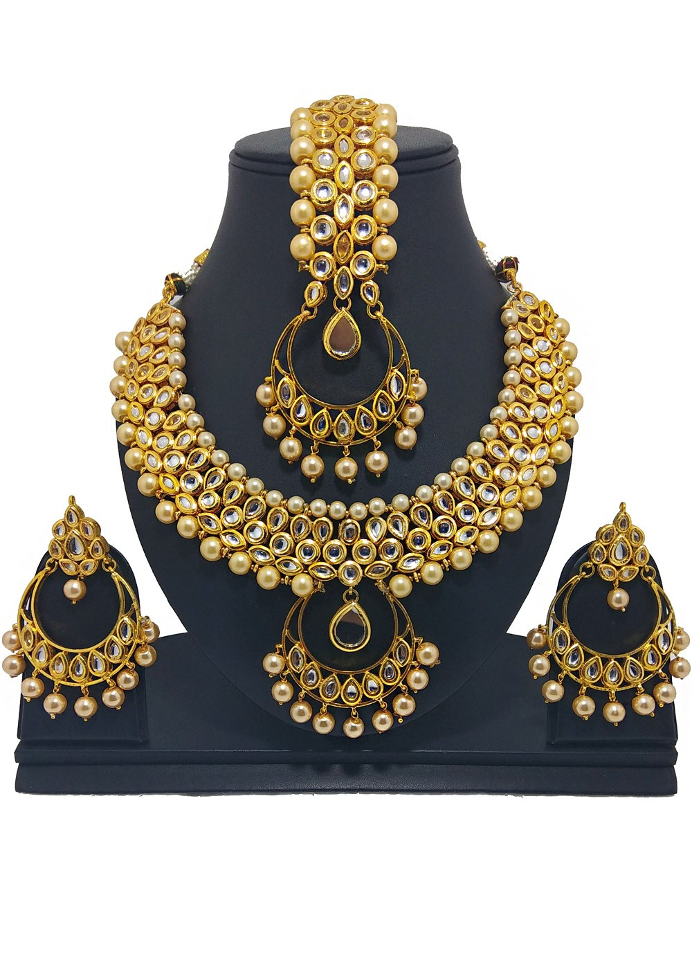 e39087ac7ed25 Gold & Beige Pearl And Kundan Necklace Set