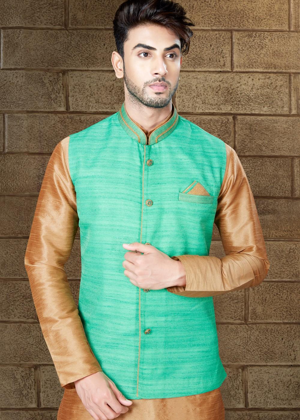 Readymade Beige Kurta Pajama with Green Nehru Jacket Men 153MW24