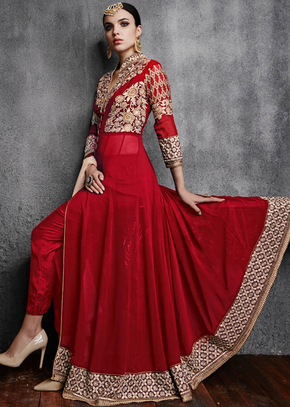 f875aad1a3 Red Georgette Anarkali Indian Salwar Suits with Pant Online UK,USA ...