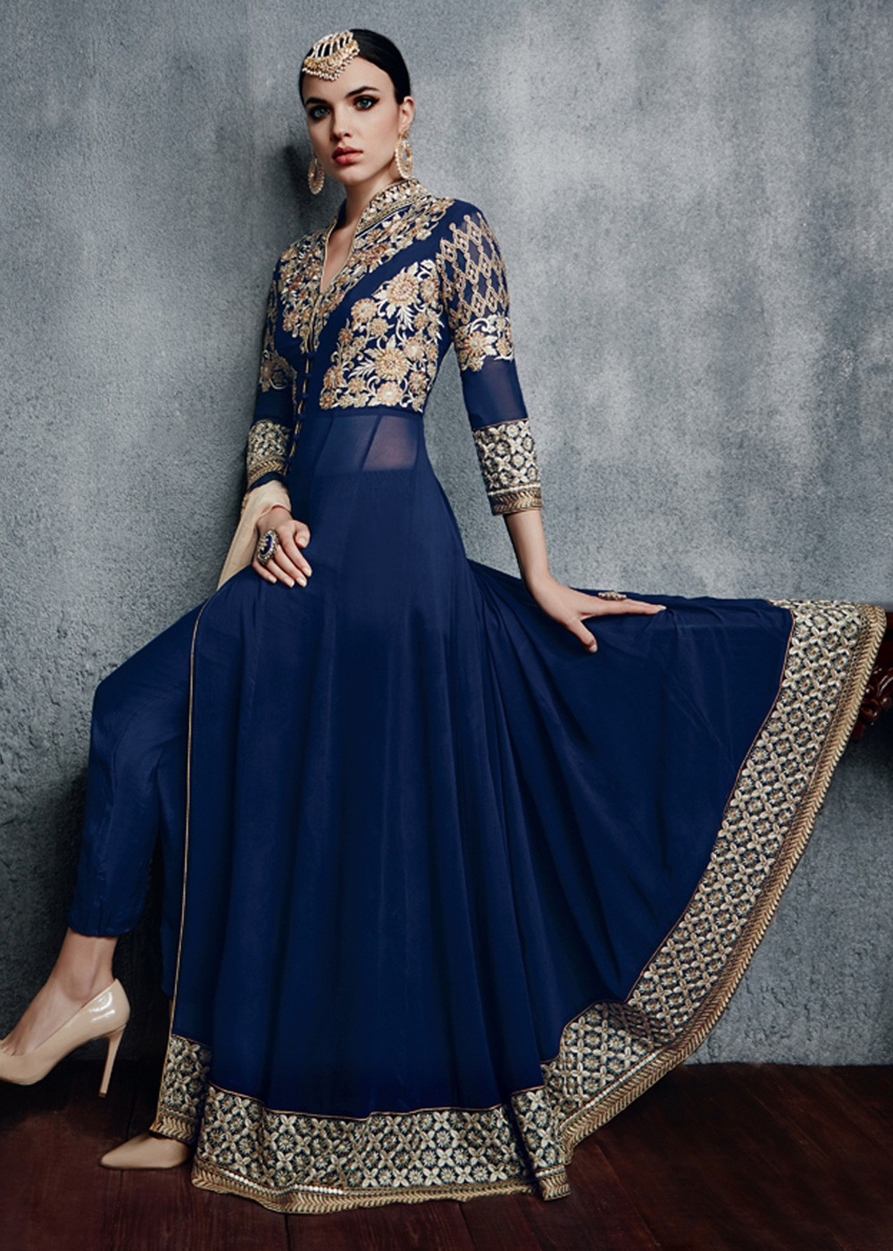 Navy Blue Abaya Style Georgette Suit With Chiffon Dupatta