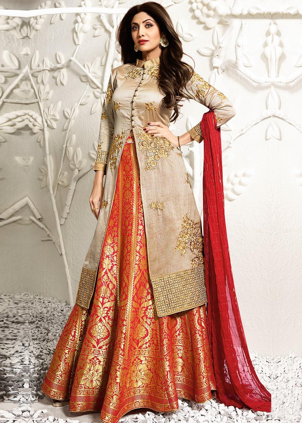 966380a9d77a1 Buy Shilpa Shetty Red and Beige Kurti Style Silk Lehenga Choli Online in UK  ...