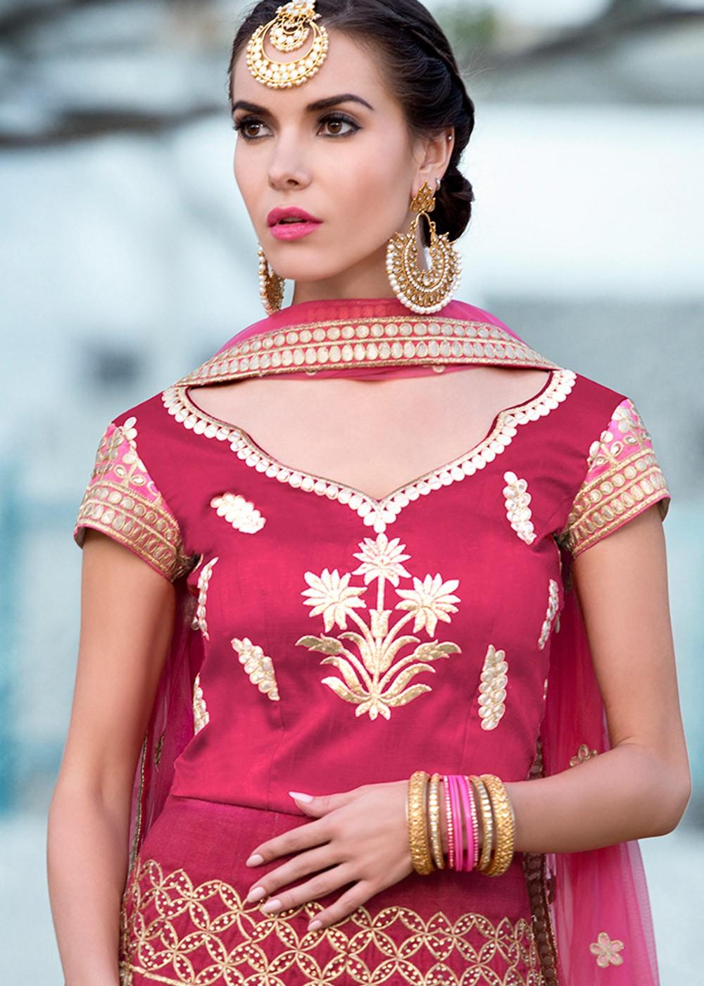 57bca5e1c8 Pink Shaded Silk Lehenga Choli with Gota Patti Work Express 1578LG07
