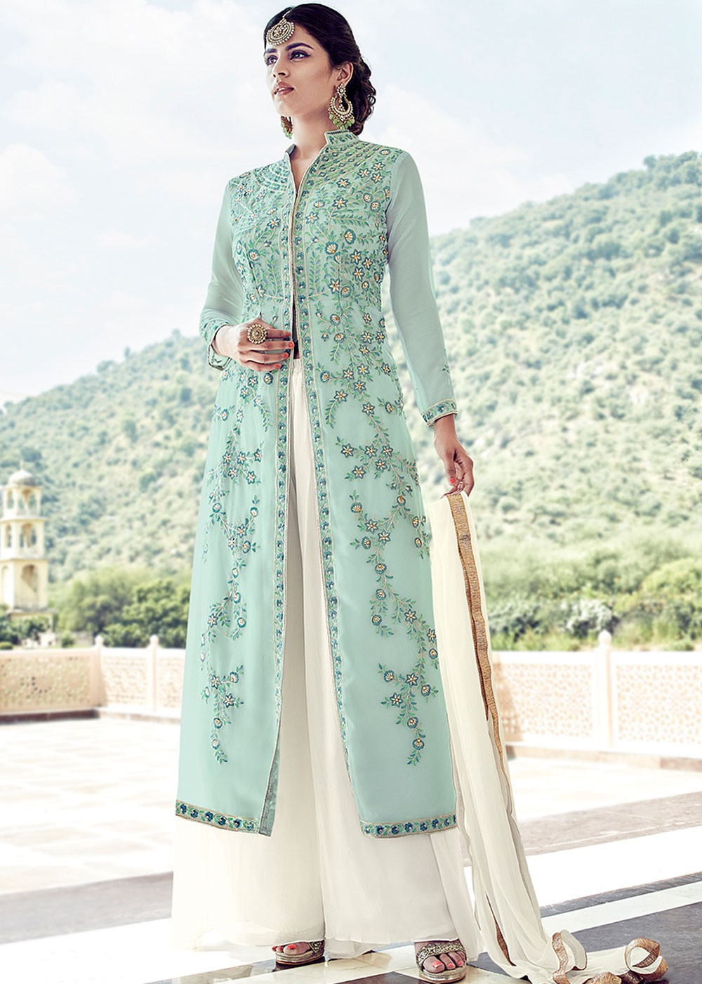 18ef288e22 Green Georgette Front Slit Suit with Palazzo. Buy Green Georgette Front  Slit Palazzo Style Salwar Suit Online. Tap to expand
