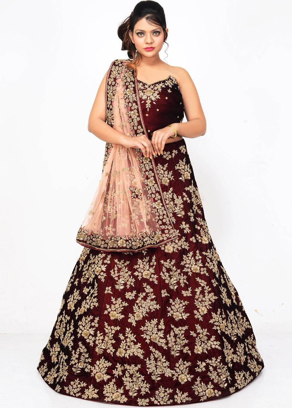 2e1dce4863 Maroon Velvet Bridal Lehenga Choli with Dupatta Lehenga 1607LG09