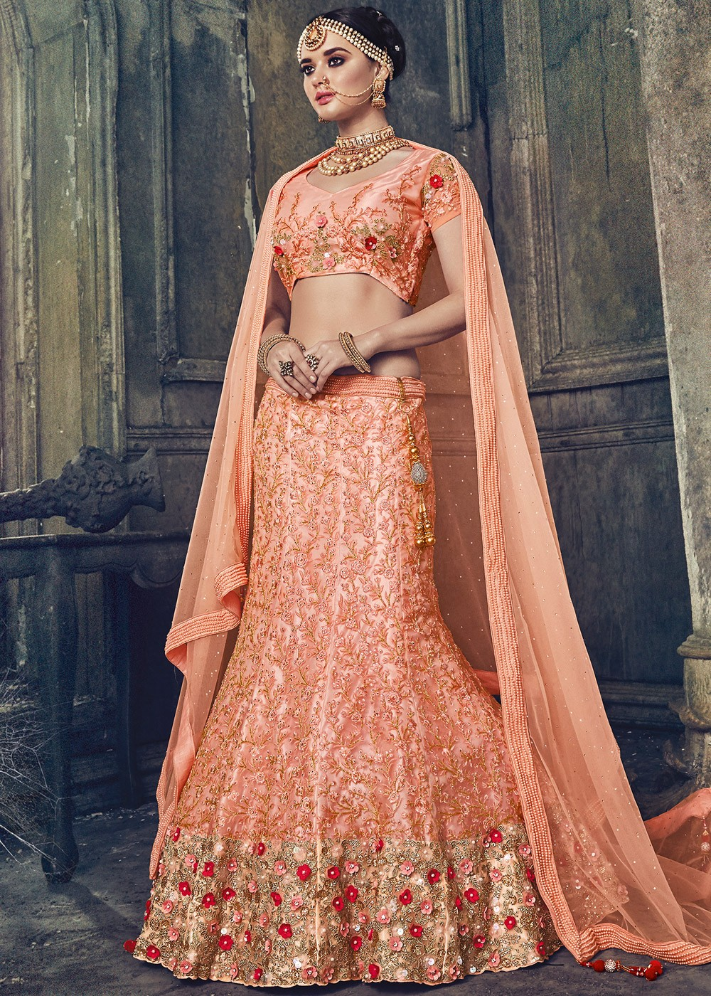 Peach Net Bridal Lehenga Choli With Dupatta Lehenga 1614lg04