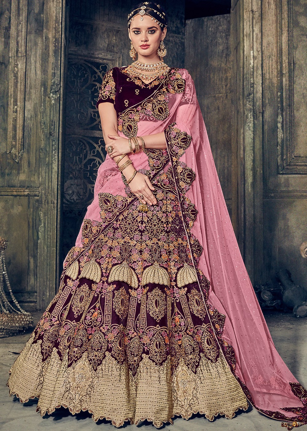 Dark Purple Velvet Bridal Lehenga Choli With Dupatta Lehenga 1614lg12