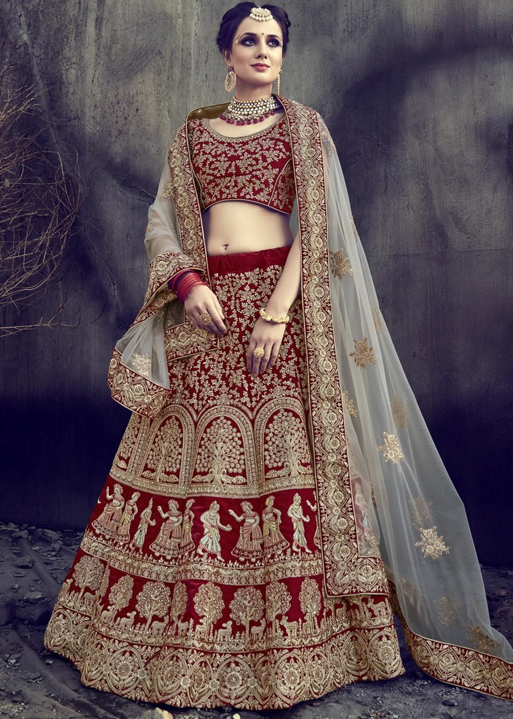 00be6e1242 Maroon Velvet Bridal Lehenga Choli with Dupatta Most Loved Styles ...