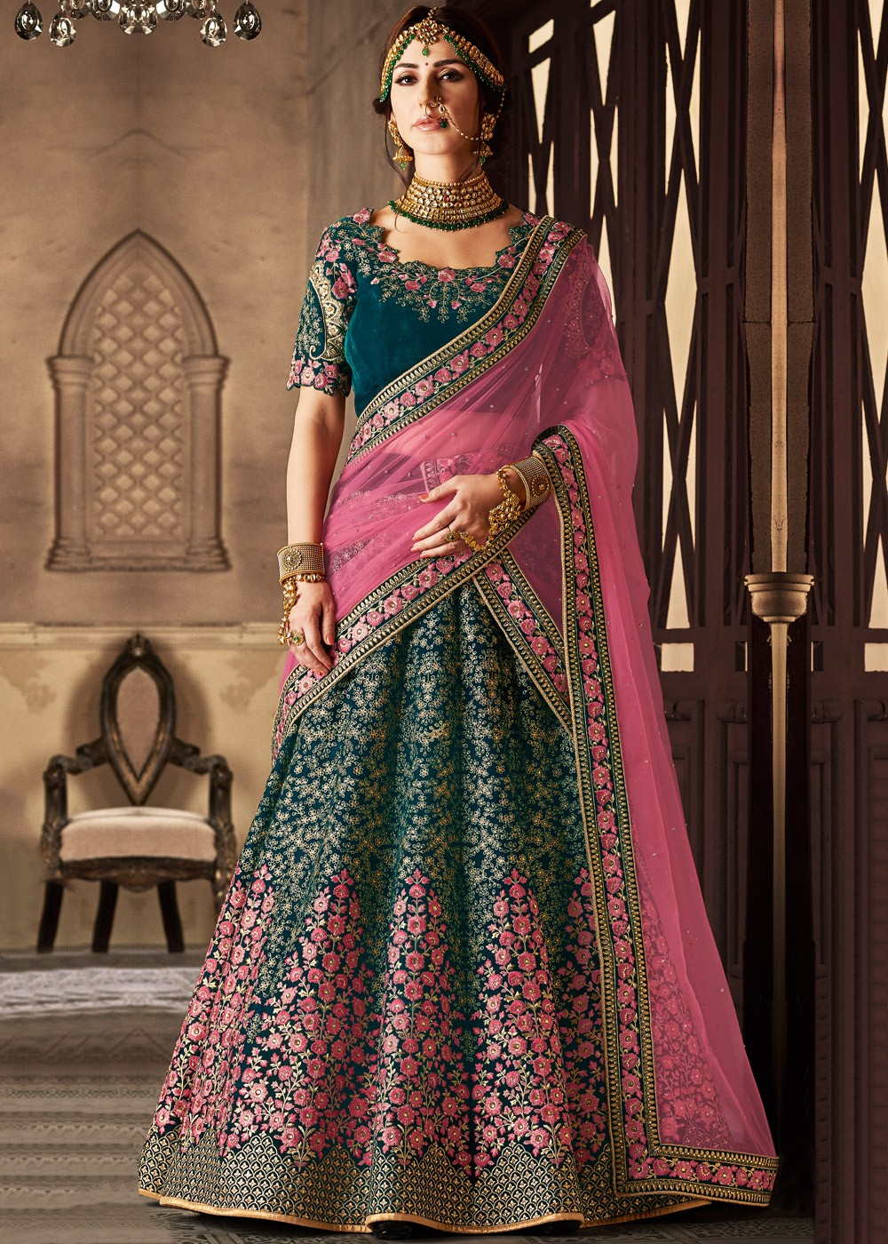 Green Velvet Bridal Lehenga Choli With Dupatta Anarkali Mughal Era 1652lg04