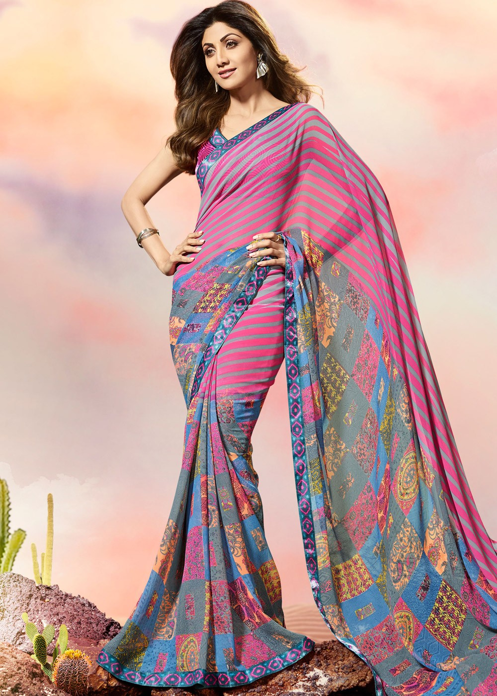 72c6725f71 Shilpa Shetty Multicolor Printed Georgette Saree with Blouse. Tap to expand