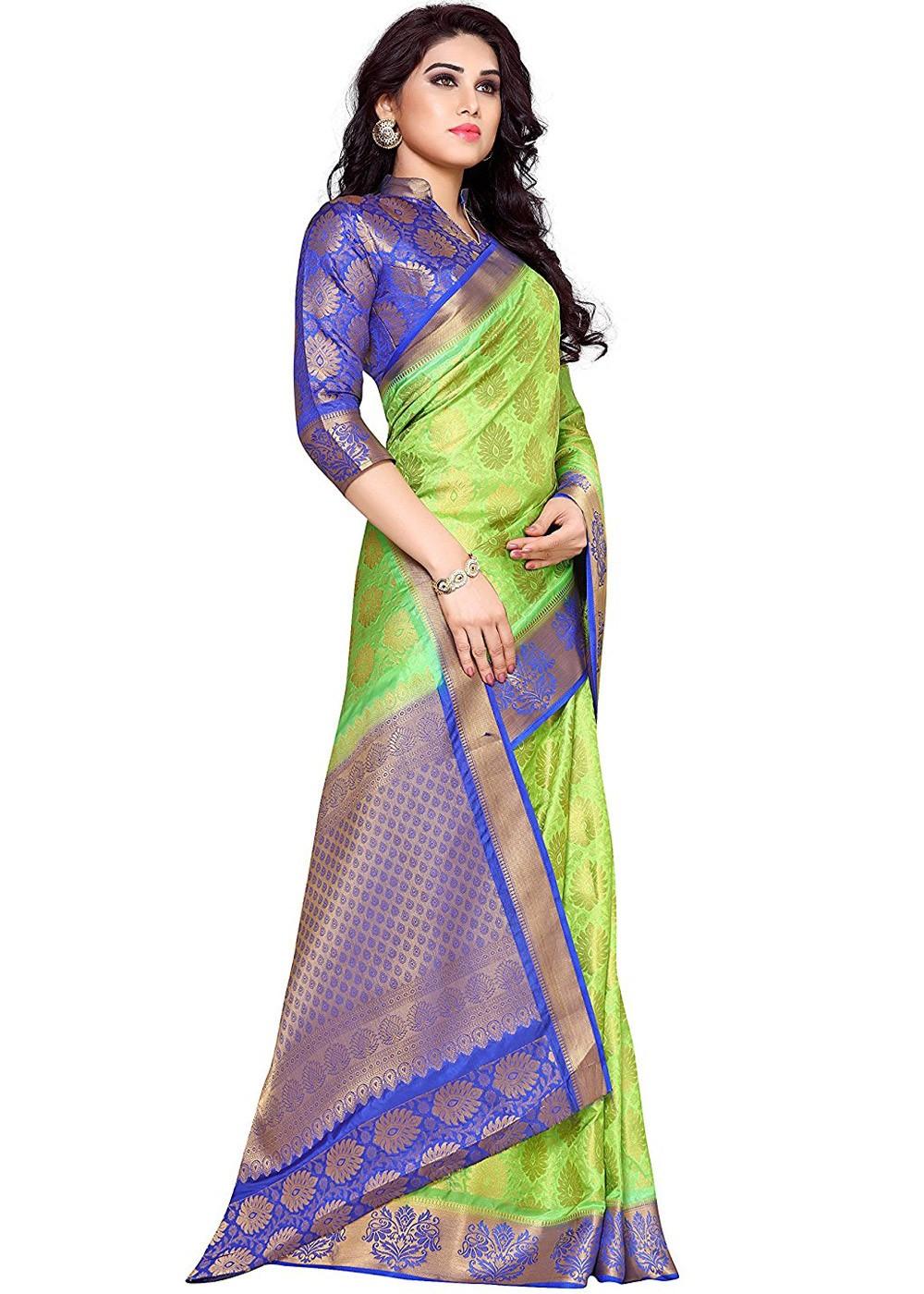 Light Green Kanchipuram Silk Saree with Blouse