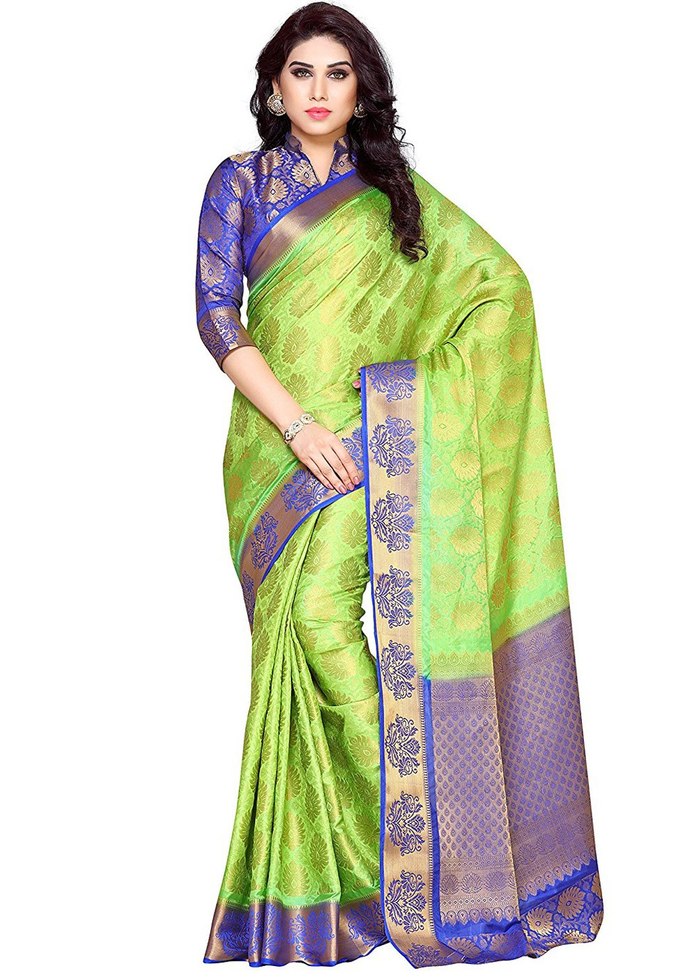 e3860f0a5fc0b0 Light Green Kanchipuram Silk Saree with Blouse 1670SR04