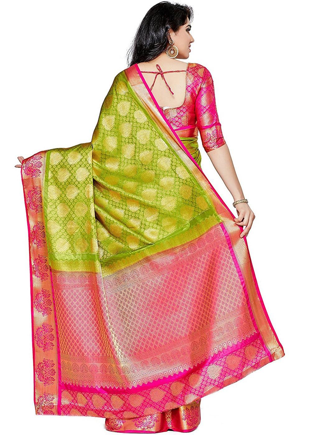 bc508265ce Light Green Kanjivaram Silk Saree with Blouse 1670SR10