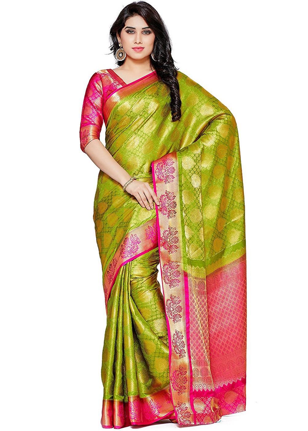 0692e5e818 Light Green Kanjivaram Silk Saree with Blouse. Tap to expand