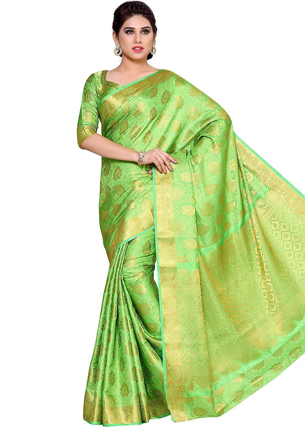 18c1cd57cd Light Green Kanchipuram Silk Saree with Blouse. Tap to expand