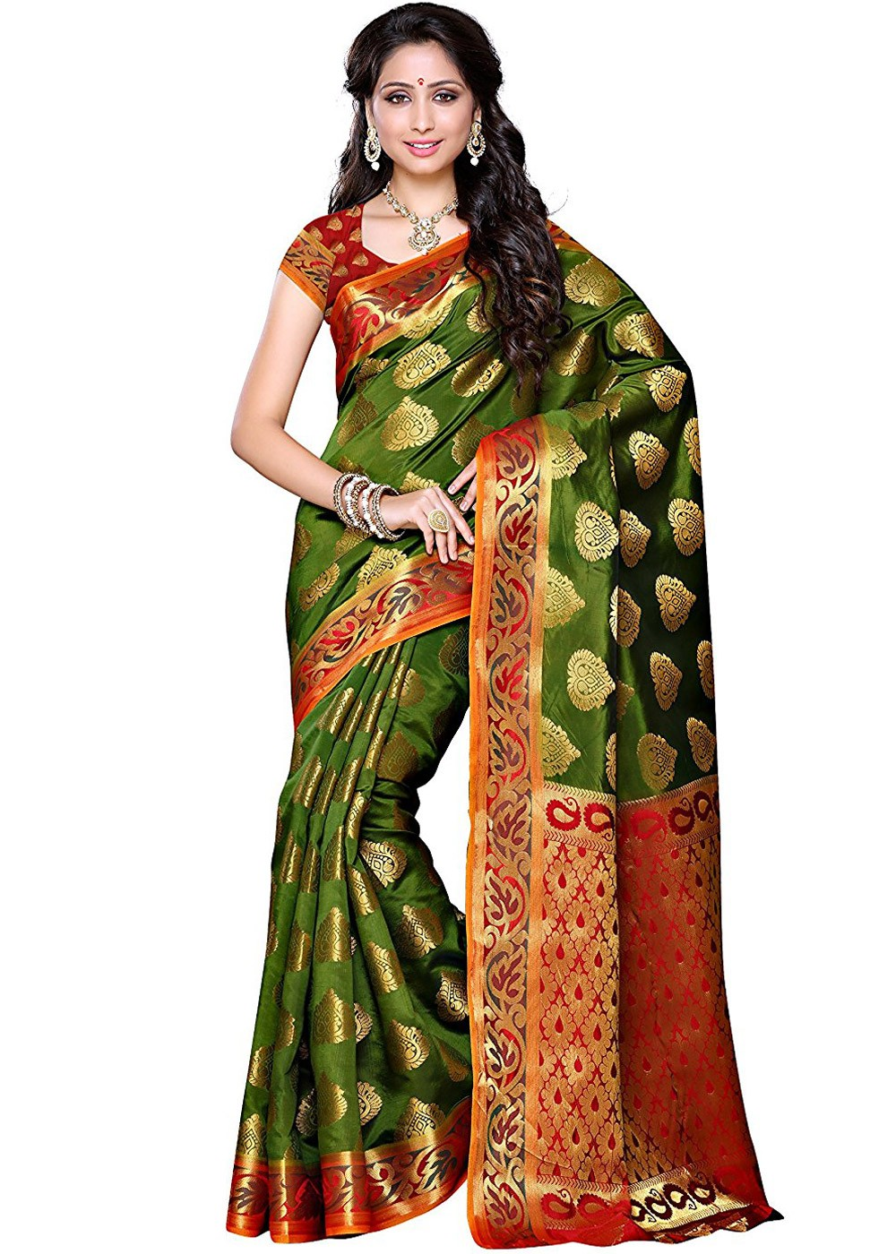 e48a342dfe5292 Olive Green Kanjivaram Silk Saree with Blouse. Tap to expand
